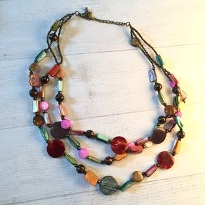 Jewelry - Layer necklace stone bauble pink brown green